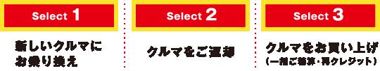 Select3クルマをお買い上げ(一括ご精算・再クレジット)Select2クルマをご返却Select1新しいクルマにお乗り換え